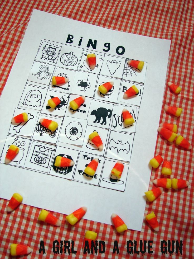 Halloween BINGO game ~ Print out Halloween clip art in squares that fit a 5 x 5 square table with FREE SPACE in the center. Each child receives the blank game board & a page of clip art to glue in any order that they want. The caller also needs the clip art. Give each a handful of candy corn as markers.