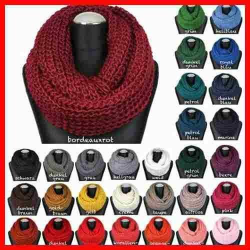 bufandas infinitas, cuello de lana doble