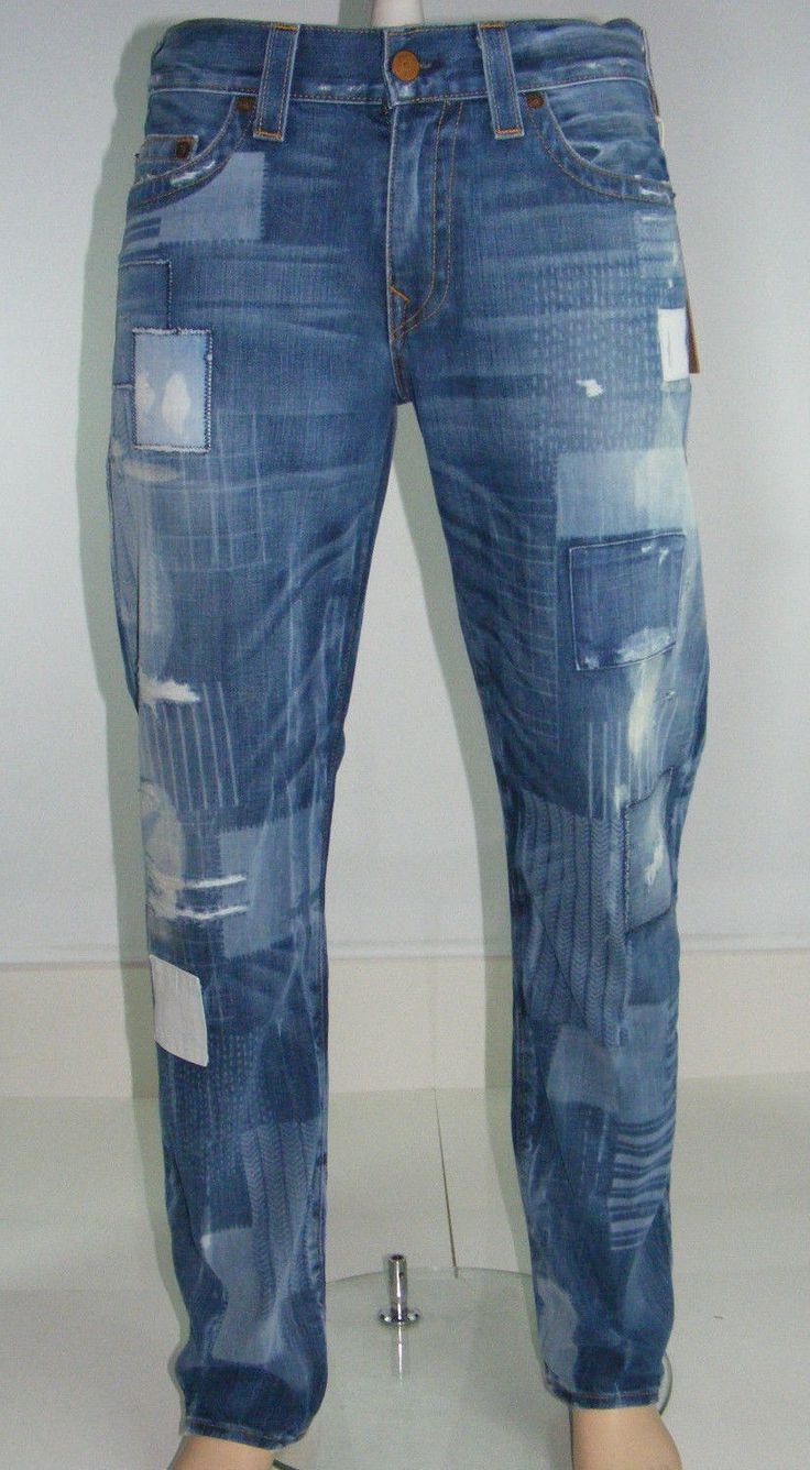 New True Religion Mens Geno Relaxed Slim Graphic Patchwork Jeans Size 36 X 34 True Religion
