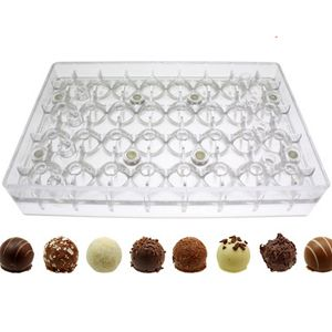 Polycarbonate Bonbon 2 pc. Magnetic Chocolate Mold. Each Bonbon 25mm Diam; 32 Cavities Polycarbonate Magnetic Chocolate Molds - BakeDeco.Com