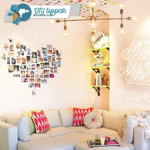 SZEMÉLYES ÉS BOHÓKÁS  Az otthon úgy az igazi, ha személyes emlékek vesznek körül. Nem kell nagy dolgokra gondolni - egy fotókból kirakott szív a falon tökéletes dekoráció szabad, bohém lelkeknek. :) #dekortippek #diy