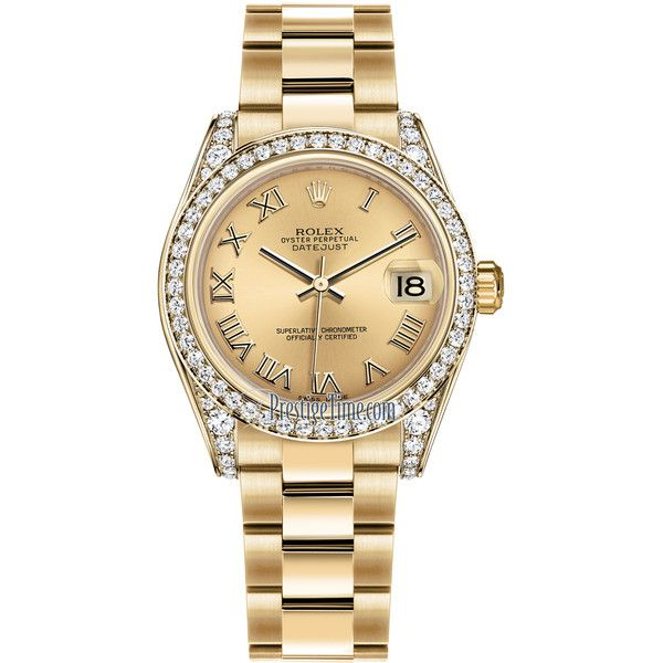 Rolex Datejust 31mm Yellow Gold 178158 Champagne Roman Oyster Watch ($32,964) ❤ liked on Polyvore featuring jewelry, watches, yellow gold jewelry, polishing gold jewelry, champagne gold jewelry, rolex and rolex wrist watch