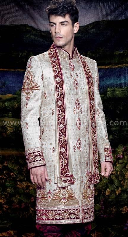 Mens wear, groom wedding dress, groom sherwani, indo western, sherwani indo western, Off White sherwani, designer sherwani, marriage sherwani, indian wedding wear, heavy sherwani www.statusindiafashion.com