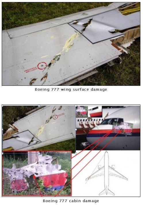 #MH17. Cockpit and wing damage with fragments trajectory.