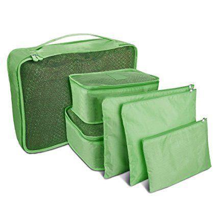 Topist 6sacchetti da viaggio vestiti imballaggio cubo bagagli Organizer Pouch Bagaglio accessori, valigia, viaggio e campeggio verde Green