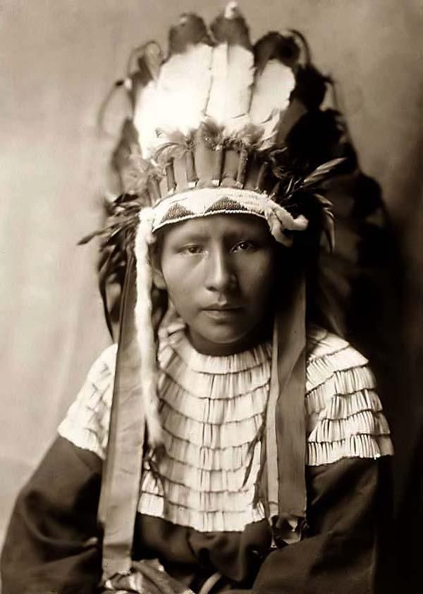 Daughter of Bad Horses, 1905. Edward S. Curtis.    The photograph presents a Head-and-shoulders portrait of a Cheyenne girl in a feather headdress.