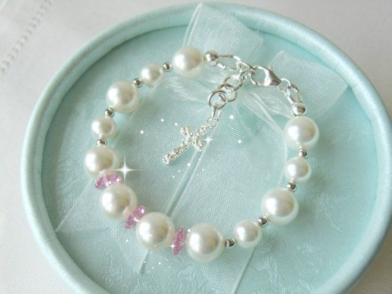 White Girls Bracelet for Christening or Baptism, Flower Girl Bracelet by CharlotteJewelryBox, $38.00