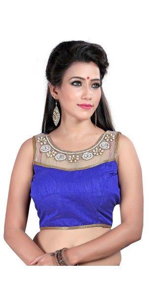 Fashionable Blue Silk Designer Blouse.