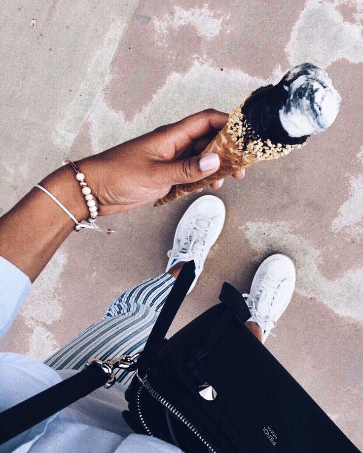 It's time for ice cream 🍦🖤 #myAnalie #mySkye #myownbracelet