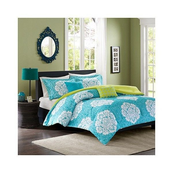 Becca Comforter Set ($80) ❤ liked on Polyvore featuring home, bed & bath, bedding, comforters, blue, california king size comforter, blue king comforter set, cal king comforter, king size comforters and blue king size comforter set