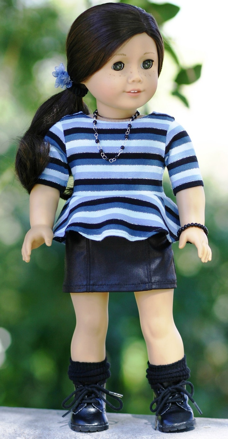 American Girl Doll Clothes-Knit Striped Peplum Tee , Faux Leather Skirt, Hair Clip, Custom Necklace and Bracelet by Doll Closet Heirlooms., via Etsy.