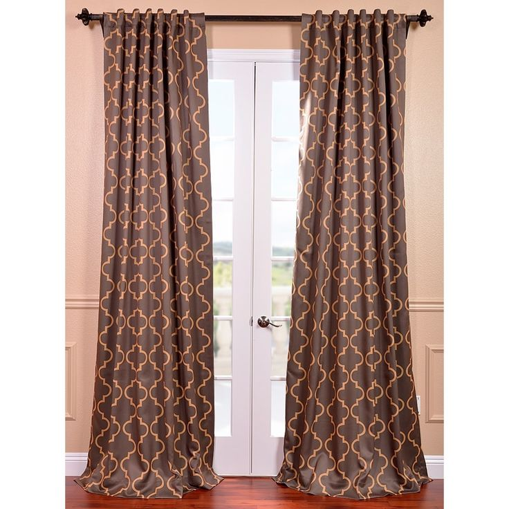 Seville Print Grey And Gold Blackout Curtain Panel