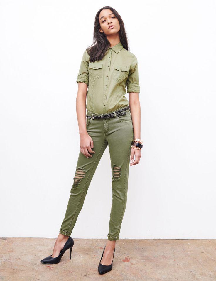 Kaki Pour Femme Jeans Et Delave Troue jeans wn0kO8P