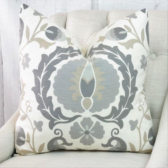 High End Designer Throw Pillows Part - 21: Grey Pillow Cover, Both Or One Sided Pillow Cover, High End Designer Pillow,  03722 Platinum Pillow