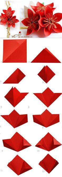 Paper POINSETTIA - flor de pascua de papel                                                                                                                                                     Más
