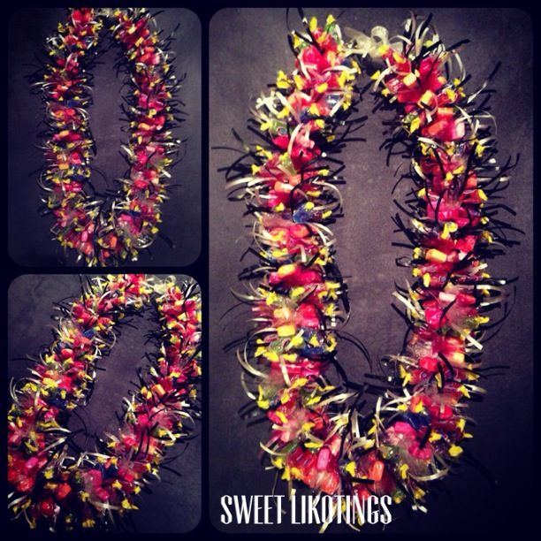Maroon, black, and white starburst candy lei $40   Sweet ...
