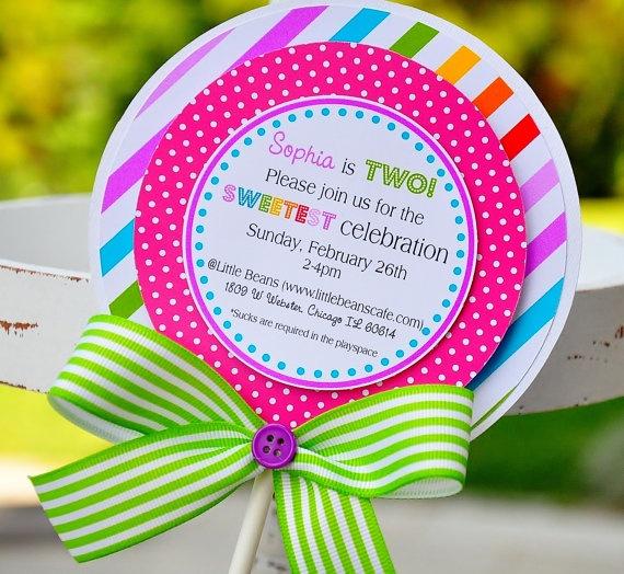 Lollipop Invitations, Candyland Lollipop Invitations