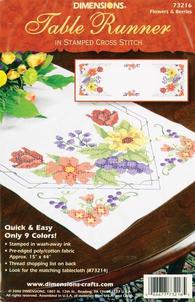 Flowers & Berries Table Runner Stamped Cross Stitch-15 X44