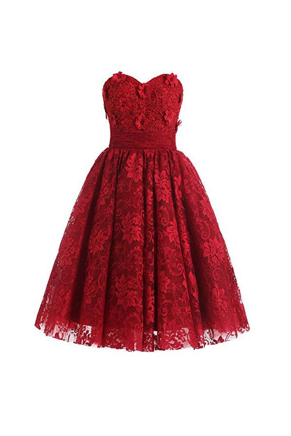 Sweetheart Knee Length Homecoming Dresses Lace Cocktail Dress PG070