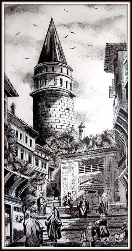 Eski istanbul-Kömür tozu ile renklendirilmiş.GRAVÜR ÇALIŞMALARI-berrinduma.trart.net