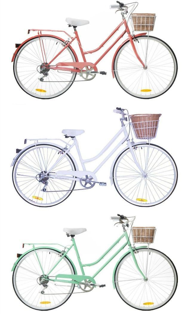 daydream lily: Vintage style bike. These are so cool! Maybe if I had a family of my own to take like Saturday bike rides together thru town or along the beach (depending on the hardness of the sand) or boardwalk or something. :) btw, I absolutely LOVE the light purple color of the bike in the middle. ;D