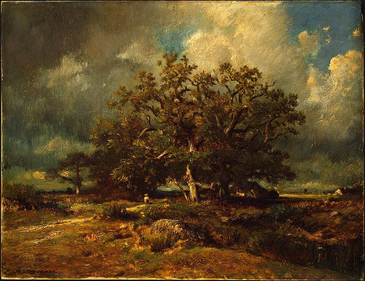 "Jules Dupré: ""The Old Oak"", c1870, oil on canvas,  Dimensions: 32.1 × 41.5 cm (12.6 × 16.3 in), Current location: National Gallery of Art, Washington, DC."