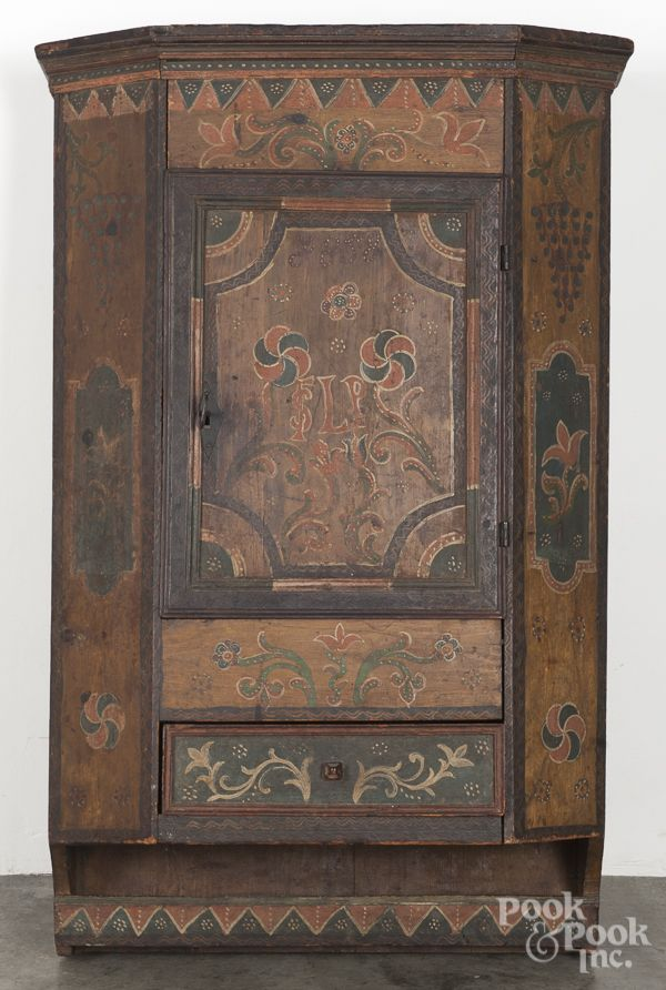 Scandinavian painted hanging cupboard, dated h.