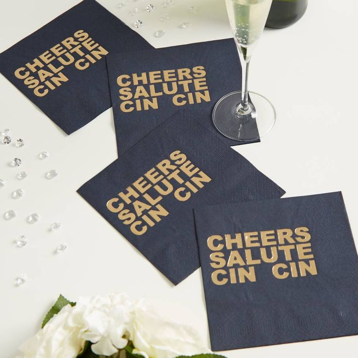 Gold Foil Black Party Napkins | Cheers Salute Cin Cin