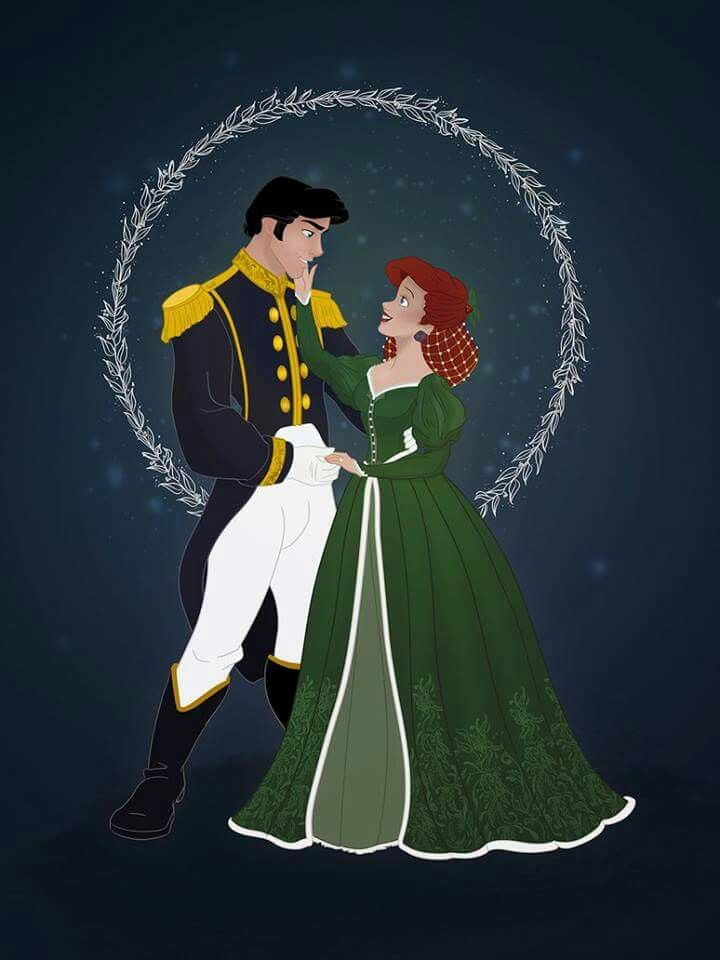 Christmas Disney Couples Best of Disney Art by Grodansnagel - Linnéa Asberg