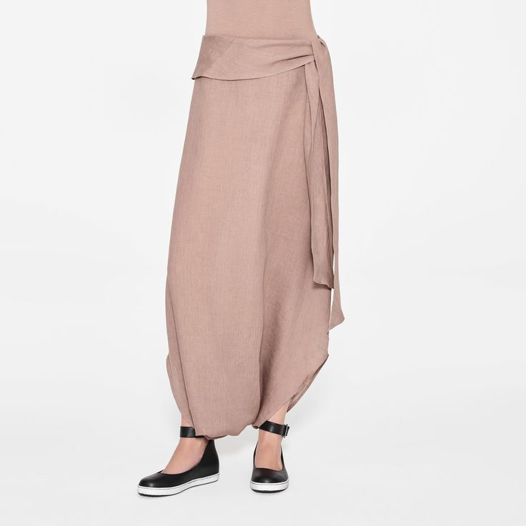 Brown linen linen sarouel skirt by Sarah Pacini
