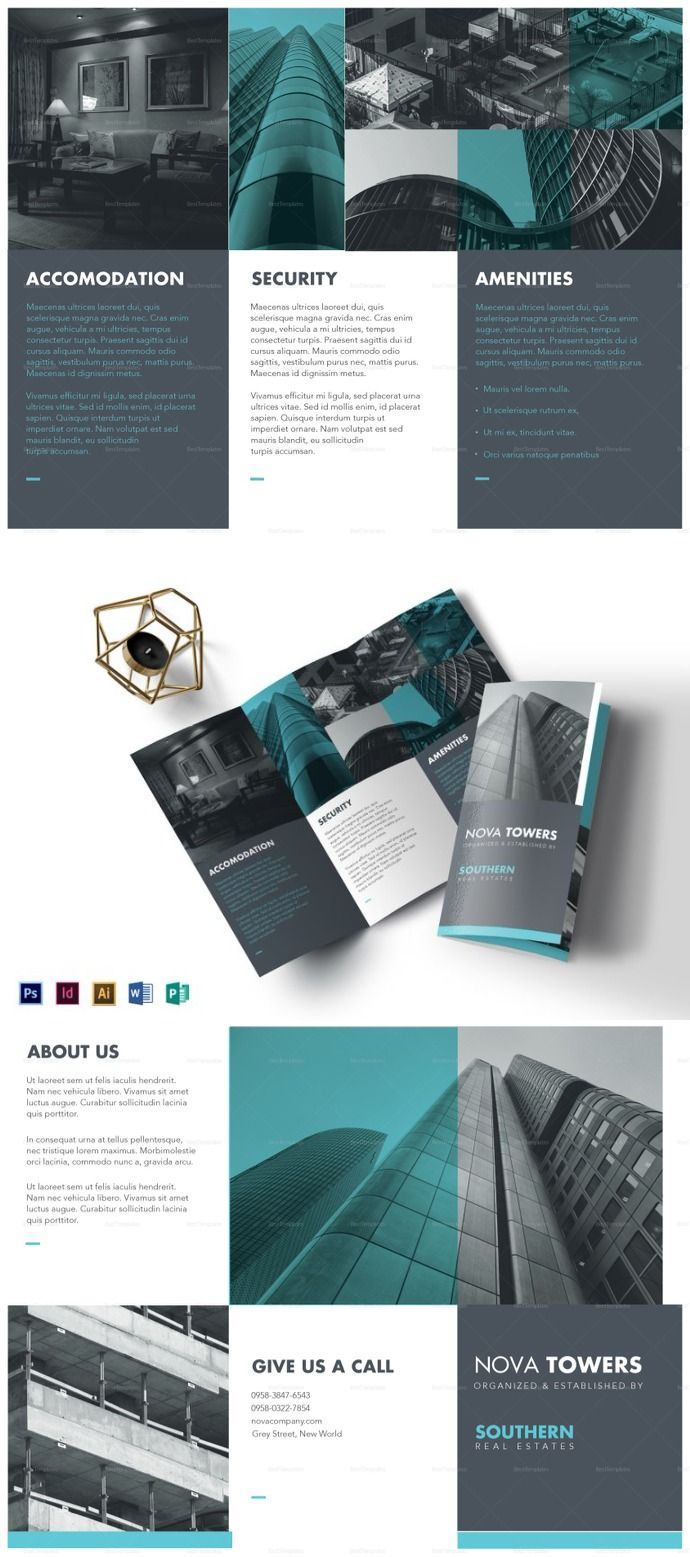real estate tri fold brochure template デザイン pinterest