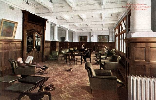 Reading room, Commercial Travellers' Club, Melbourne (Edwardian). - the precursor to the Frequent Flyers?
