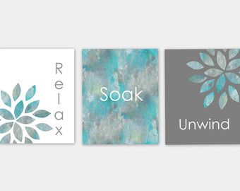 Bathroom Wall Art Relax Soak Unwind Bathroom Wall Decor Prints Home Decor Set…