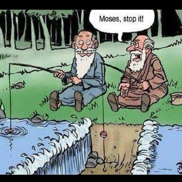 Don't go fishing with Moses hehe: Giggle, Funny Stuff, Humor, Moses, Funnies, Things, Smile, Funnystuff