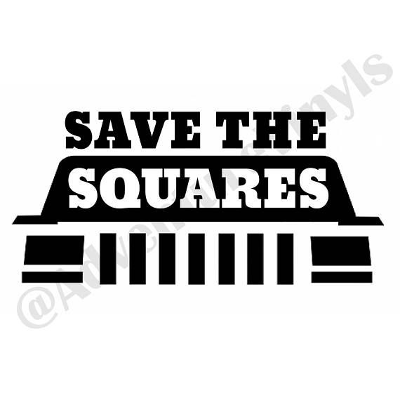 Save the squares vinyl decal jeep decal jeep cherokee decal jeep xj decal jeep girl decal jeep girl sticker jeep cherokee xj jeep xj