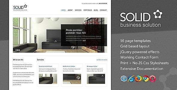 Solid is an HTML + CSS template with a clean design, suitable for any kind of corporate / business website.