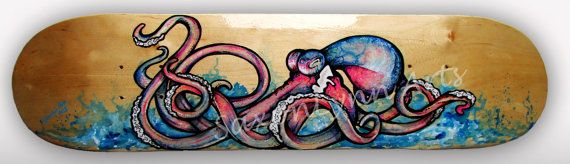 Custom Skateboard Art  Octopus Painting  Made to by SAXONLYNN, $275.00 #octopuspainting #surfart #skateboardart