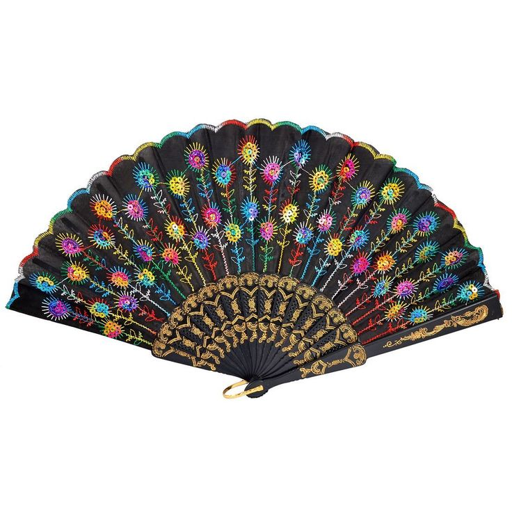 GSFY-Colored Embroidered Flower Pattern Black Cloth Folding Hand Fan for Woman Gift