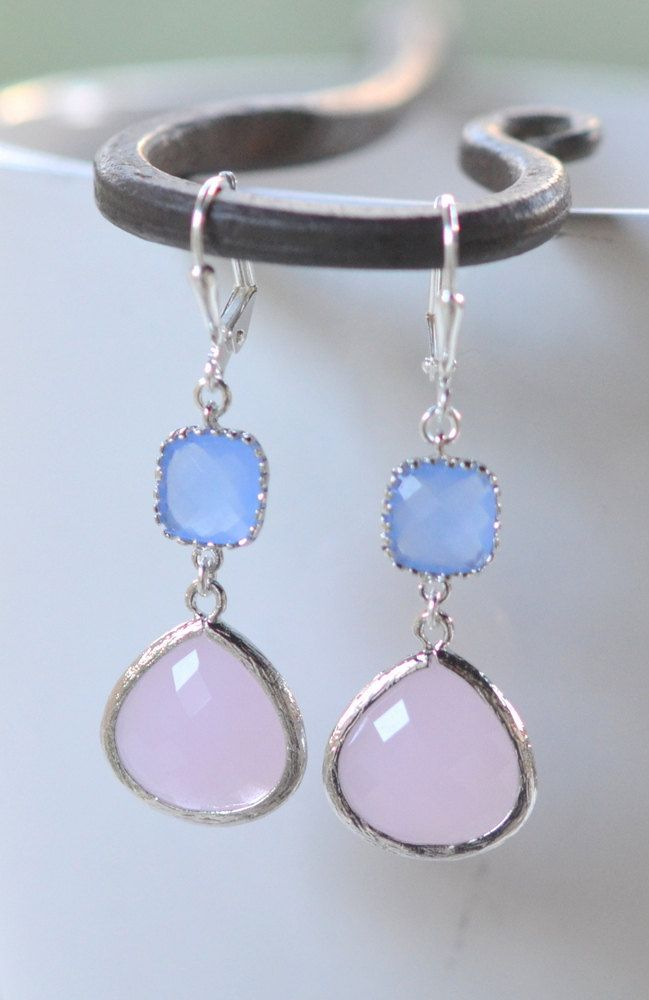 Soft Pink Bridesmaid and Periwinkle Jewel Earrings