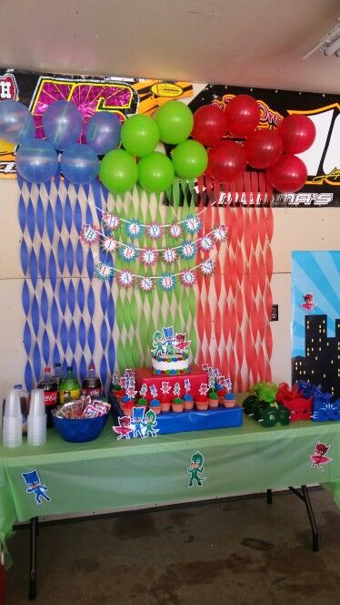 Pj Mask Party Decorations Brilliant 79 Best Anniversaire Pyjamasques Images On Pinterest  Birthdays Decorating Design