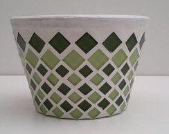Vaso para violeta de mosaico tons verde                                                                                                                                                     Mais