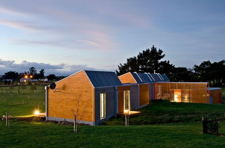 Modern rural compound built from microcabins