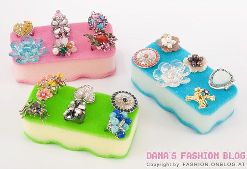 sponges turned into ring display! easy way to bring color into your display