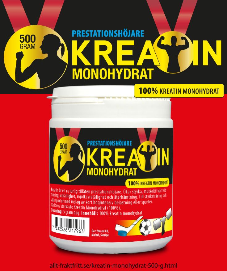 Kreatin monohydrat 500 g - Kreatin monohydrat. Ofarligt, lagligt, billigt kosttillskott för snabbare muskelstyka. Ökar prestationsförmågan vid alla sporter med upprepade repititioner - som styrketräning. Ej doping, ej förbjudet och helt ofarligt - det fin