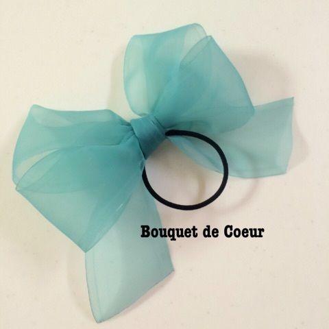 ハンドメイド♡ フェミニンシフォンリボンゴム♡ 全6色♡ミントグリーン http://s.ameblo.jp/bouquet-de-coeur/ Handmade ribbon hair accessory Mint green colour