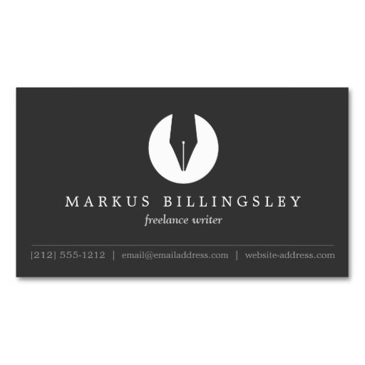 CALLIGRAPHY PEN NIB LOGO 4 for Authors or Writers Business Cards