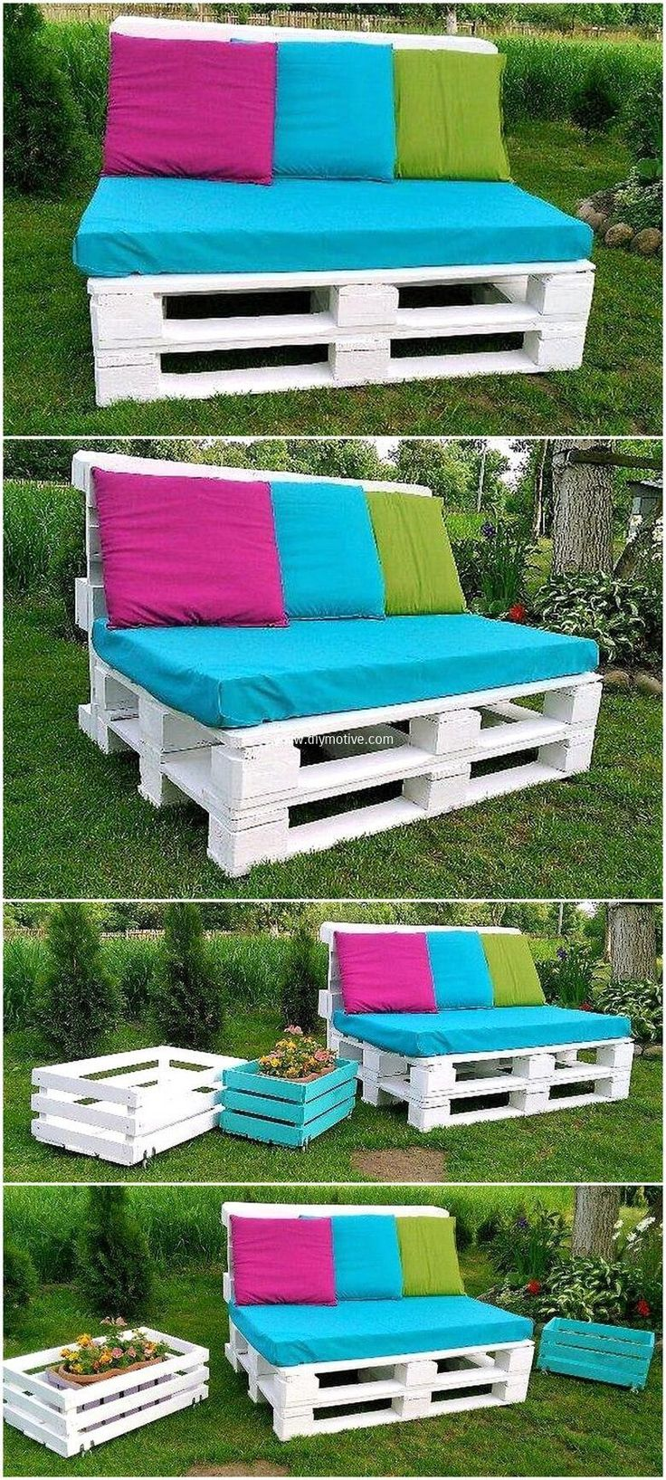 This is an interesting activity you need to try for your place. It is very easy to craft pallet garden sofa. All you need is to cut pallet in proper manner then join them one by one making its base and at last put seats of fresh colors to enhance its beauty. #pallets #woodpallet #palletfurniture #palletproject #palletideas #recycle #recycledpallet #reclaimed #repurposed #reused #restore #upcycle #diy #palletart #pallet #recycling #upcycling #refurnish #recycled #woodwork #woodworking
