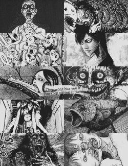scary horror manga tomie junji ito black & white spooky eerie uzumaki gyo