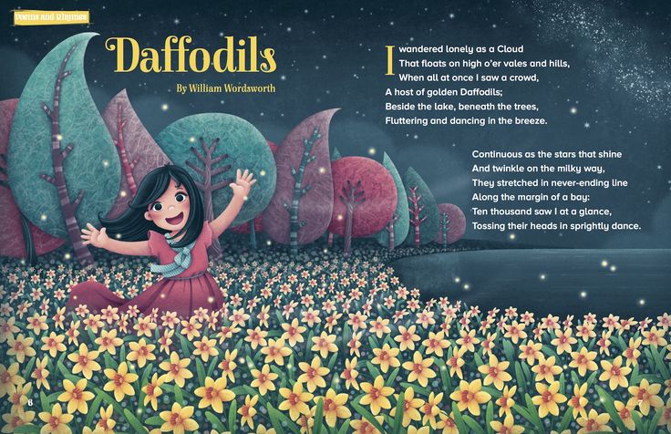 Daffodils by William Wordsworth – a learn-off-by-heart classic to teach kids in Storytime Issue 31. Art by Silvia Sponza (http://silviasponza.com). ~ STORYTIMEMAGAZINE.COM