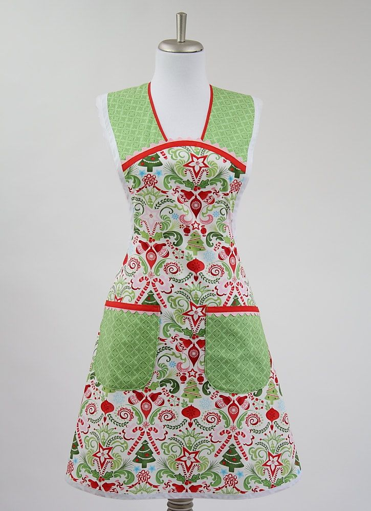 Retro Christmas Apron Kate Spain Flurry Snowflake Red and ...